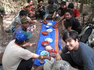 A camp dinner in Borneo.