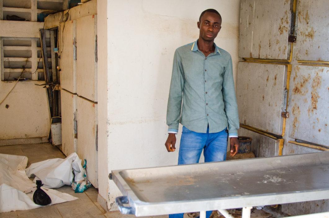 burial worker in morgue