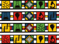 This pattern is inspired by the work of South African artist Dr. Ester Mahlangu of the Ndebele nation in South Africa. Such vibrant Ndebele patterns can be seen on houses, clothing, and other surfaces in South Africa, and this particular piece has science imagery as way to express the growing interest in decolonizing science in Africa.