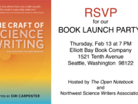 RSVP for the Launch Party for The Craft of Science Writing Feb 13 in Seattle!
