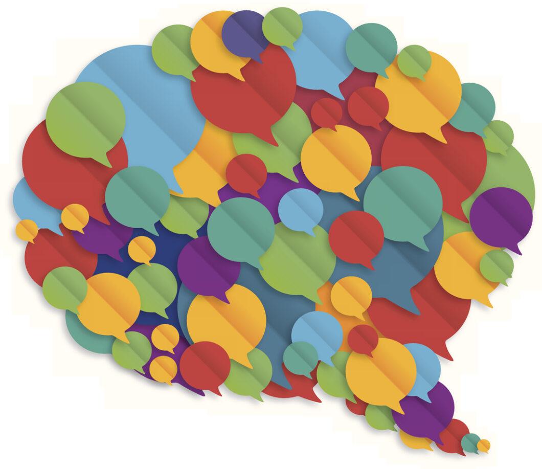 Multicolored speech bubble